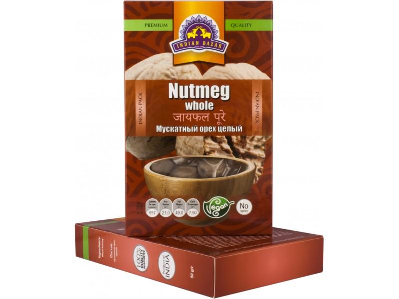 Мускатный орех целый 50 гр  INDIAN BAZAR коробка