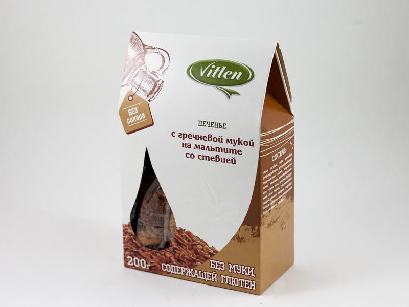 Печенье с гречневой мукой на мальтите со стевией 200 г Vitlen