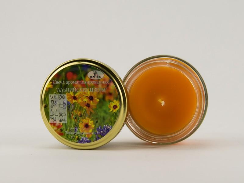 Свеча ароматическая в банке Альпийские луга 7 см оранжевая