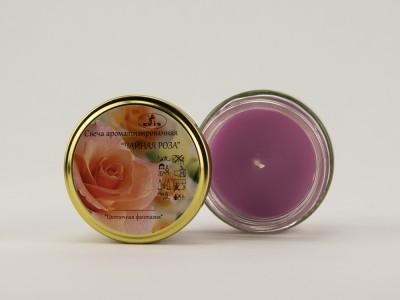 Свеча ароматическая в банке Чайная роза 7 см розовая