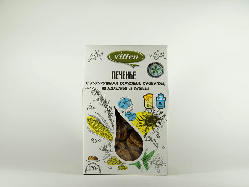Печенье с кукурузными отрубями на мальтите  170 г Vitlen