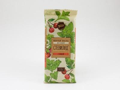 Шоколад молочный СТЕВИЛАД с вишней 50 г