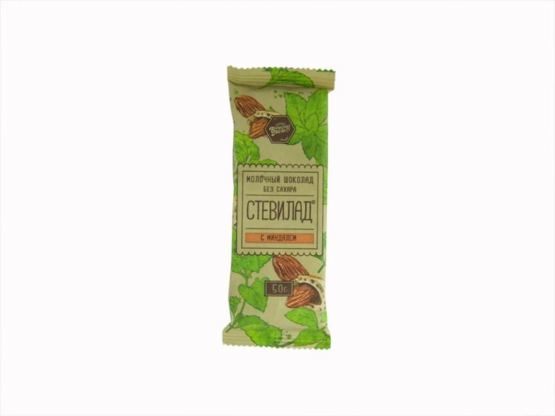 Шоколад молочный СТЕВИЛАД Миндаль 50 г
