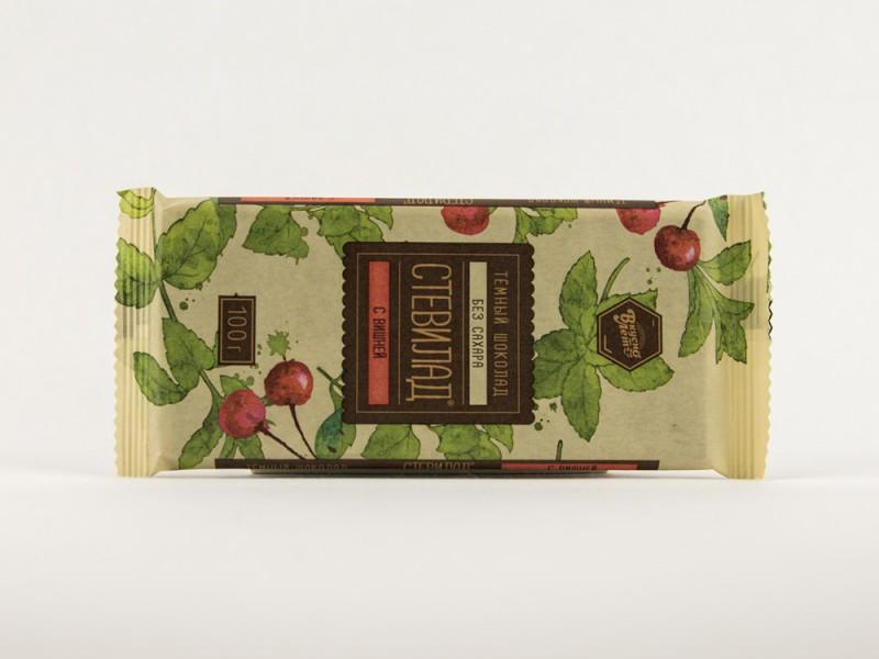 Шоколад темный СТЕВИЛАД вишня 100 г