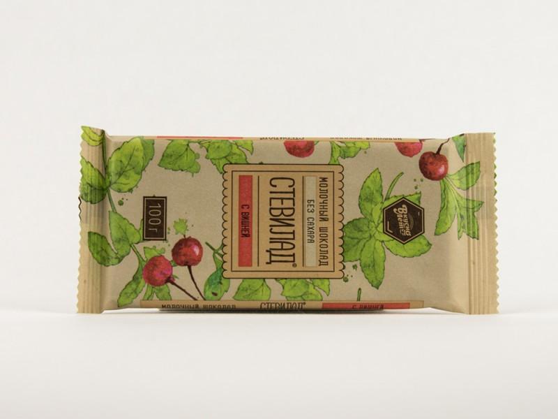 Шоколад молочный СТЕВИЛАД с вишней 100 г