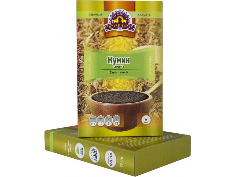Кумин семена 75 г  INDIAN BAZAR коробка