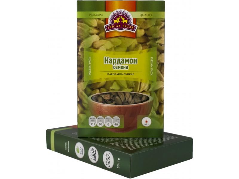 Кардамон зеленый зерно 50 г  INDIAN BAZAR коробка