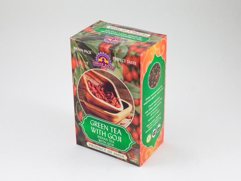 Чай зеленый с ягодами годжи 100г INDIAN BAZAR коробка