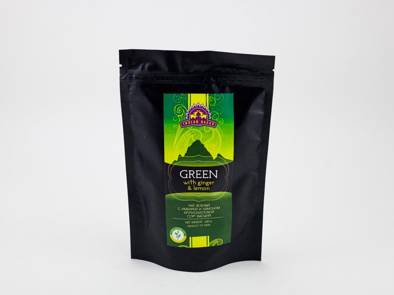 Чай зеленый с имбирем и лимоном крупнолист. 100г INDIAN BAZAR сорт высший